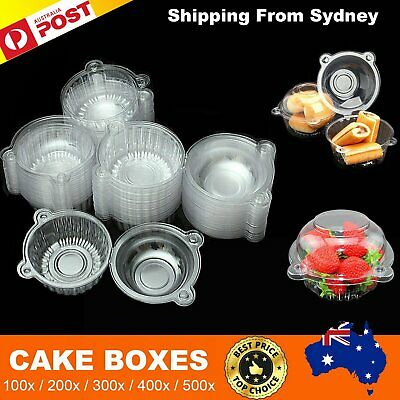 100-500x Clear Plastic Food Cupcake Muffin Boxes Cup Cake Storage Takeaway Box
