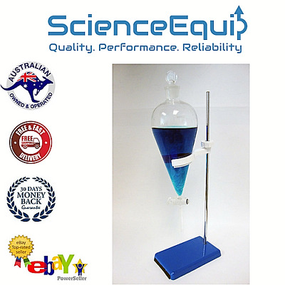 Separatory Separating Funnel 250ml- Premium Glass Stopcock-Holder & Metal Stand