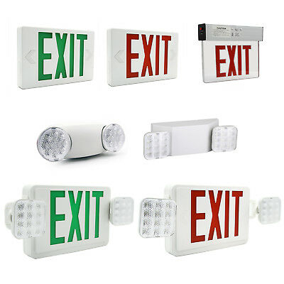 LED Exit Sign Emergency Light Red/Green Compact Combo Fire Safety UL924 COMBOCR