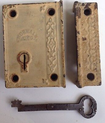 Antique DOOR cast iron RIM LOCK with RARE folding KEY dead bolt EARLY hardware