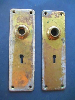 vintage DOOR KNOB  escutcheon / back plate  SOLID BRASS - KEY HOLE LOCK c 1900's