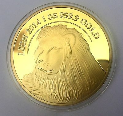 LIMITED EDITION 2014 LION SUISSE COLLECTION Coin Medallion 24K 999 GOLD FINISHED
