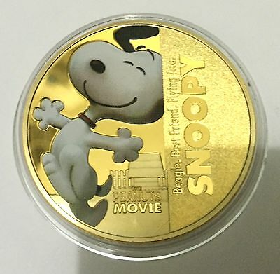 Peanuts Cartoon Movie Snoopy Dog Coin Medallion 24K 999 GOLD FINISHED