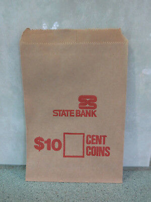 Vintage unused State Bank of Victoria $10 coin deposit bags / envelopes