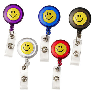 Smile Face Employee Card Lanyard Retractable Reel Badge ID Card Holder Case