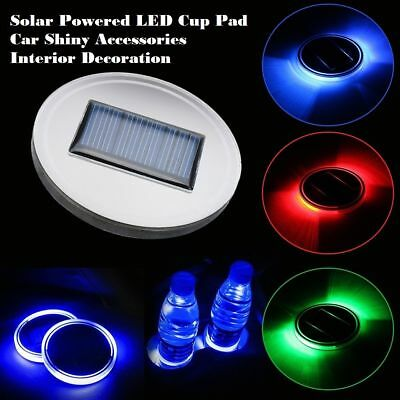 Solar Powered LED Cup Pad Car Shiny Accessories Interior Decoration