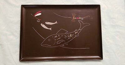 Vintage Mid-Century Couroc Serving Tray - Unique Speckled Trout & Lures