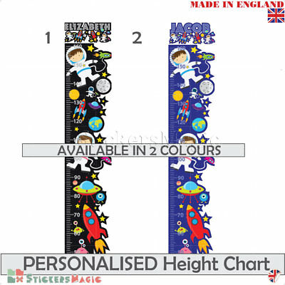 Personalised Height Chart Space Wall Sticker Kids Children Ruler For Boys Girls