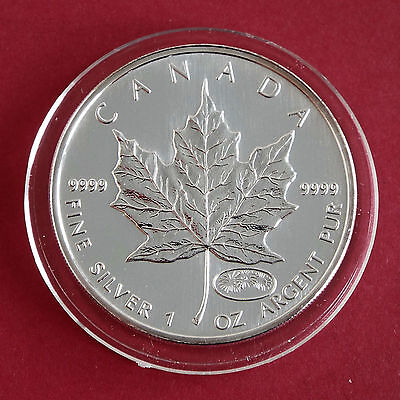 CANADA 1999 - 2000 $5 1oz .9999 SILVER MAPLE WITH MILLENNIUM FIREWORKS MINTMARK