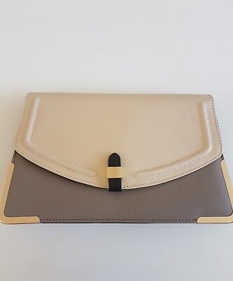 Womens Clutch Crossbody Handbag, Grey and Cream, Great Condition, Used Once