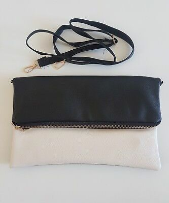 Womens Clutch Bag with strap, Cream and Black, Used Once, Excellent Condition
