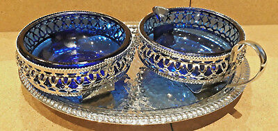 cobalt blue glass sugar and milk jug chromium tray mounted vintage 50`s - 60`s