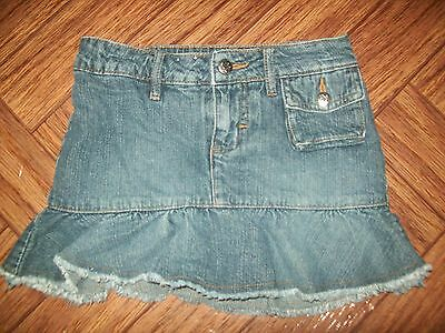 Blu Girls Skirt Size XS Denim Adjustable Waist Frayed Hem Modest Back to School