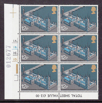 GB 62nd Inter-Parliamentary Union Conference 1975 MNH cyl block of six SG988