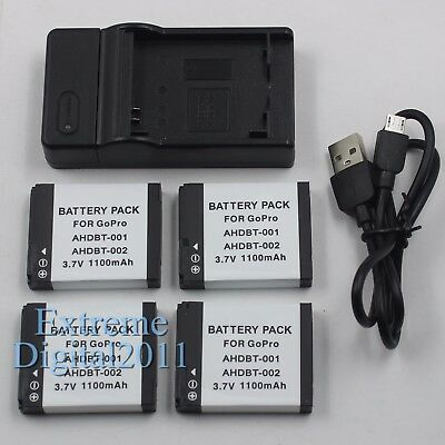 Replacement For GoPro AHDBT-001 AHDBT-002 Battery + Charger For GoPro HD Hero 2