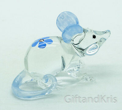 Figurine Animal Hand Blown Glass Blue Flower Rat Mouse Mice - GPRA003