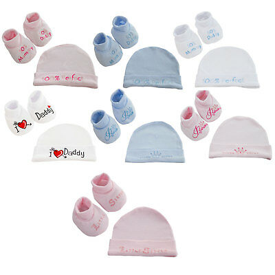 Baby Boys Girls 2 Piece Gift Set Soft Touch Hat & Booties Set NB-3 Months