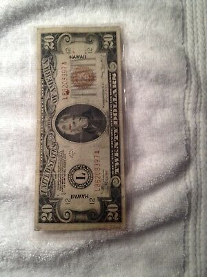 1934A $20.00 Federal Reserve Note Hawaii Over Print F/vf Bin Free Shipping