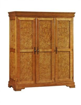 Richmond 3 Door Burr Walnut Large Wood Wardrobe Repro Antique H190xW165xD60cm
