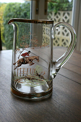 Vintage WATER JUG With HUNTING SCENE VGC 17.5cm tall