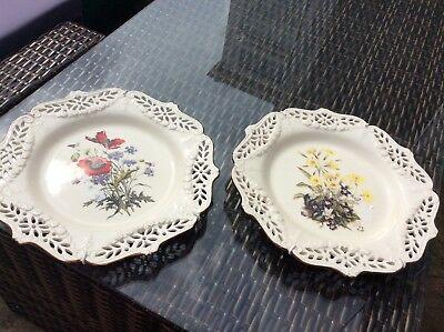 Pair of Royal Creamware The Floral Gift Plates Poppies & Primroses