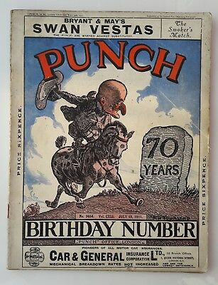 A GENUINE 1911 PUNCH MAGAZINE 70 YEARS BIRTHDAY No 3654 JULY 1911