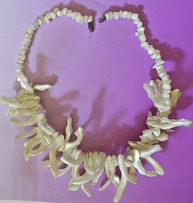 """White Shell Necklace Unique Mother Of Pearl 17.5"""" Dramatic Unusual Spikes Boho"""