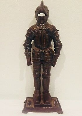 Vintage Cast Iron Knight Medieval Suit Of Armor Fireplace Tool Holder