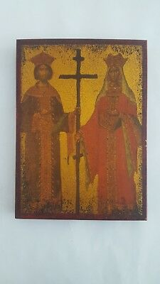 Antique Wooden Greek Christian Orthodox Wood Icon Of Saint Constantine & Helen