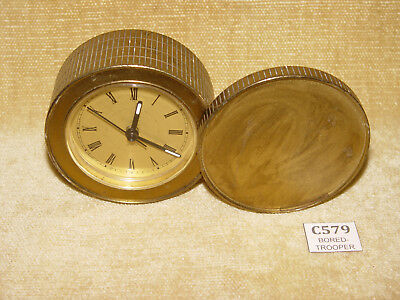 Vintage Brass Style Round Quartz Bedside Desktop Clock With Pivotted Face Cover