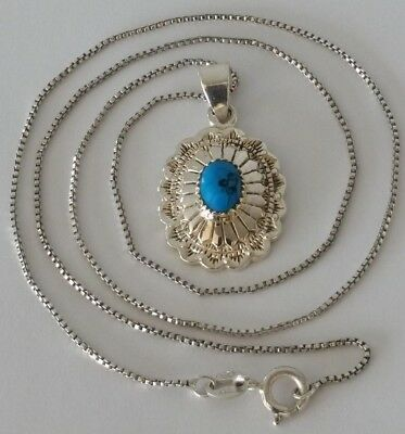 VINTAGE NATIVE AMERICAN Sterling Turquoise Concho Pendant
