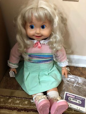 """Playmates Cricket Doll 1986 Talks Great!  25"""" Tall Original Outfit  w/Cassettes"""