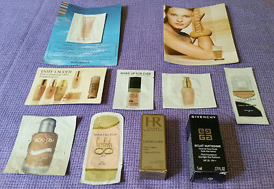 Assorted Makeup Foundation Sample Lot (MUFE, E.Lauder, Givenchy, Biotherm, etc)