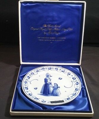 ROYAL DELFT Porceleyne Fles Mothers Day Plate 1971 FIRST EDITION ~  w/Box ~ MINT