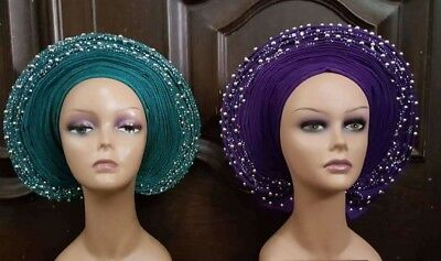 New African Auto Gele Pleated & Beaded Ready to Wear Aso Oke In Various Colours