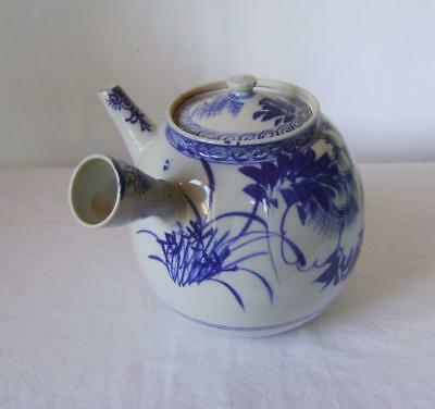 C19th Japanese Blue & White Arita Porcelain Teapot : Very Large with Side Handle