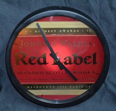 Johnnie Walker Red Label Bar Clock - Glass & Metal - Real Nice!!!