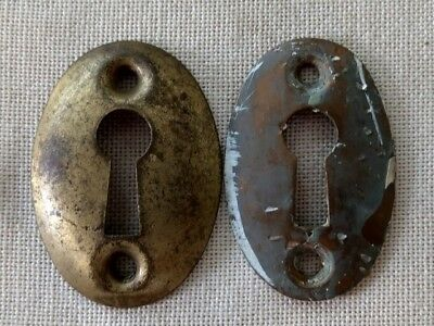 Lot of 2 Antique Brass Oval Shaped Keyhole Escutcheons - Reclaimed Salvage