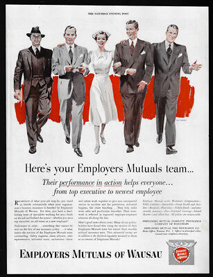 1951 Vintage Print Ad 50's Employers Mutuals of Wausau insurance illustration