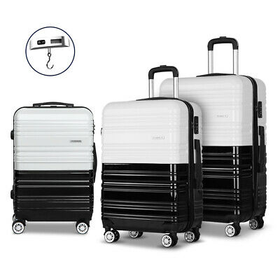 Wanderlite 3 Piece Lightweight Hard Suit Case Luggage Black & White