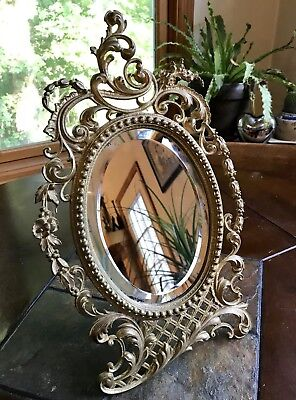 Antique Mirror Gold Cast Iron Vanity Art Nouveau Tabletop Easel Back STUNNING!
