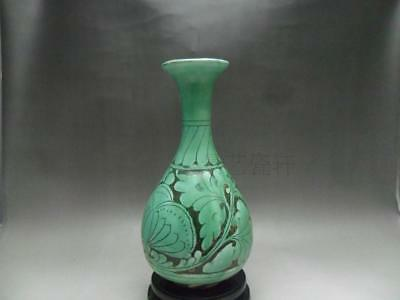 Chinese archaize antique hand make Green glaze carved jade spring bottle