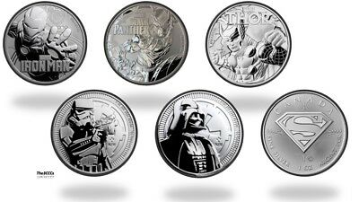 Silver Iron Man, Thor, Black Panther, Trooper, Darth Vader, Superman BU Coin Lot
