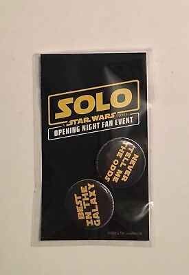 Solo Star Wars Opening Night Fan Event Buttons New Unopened
