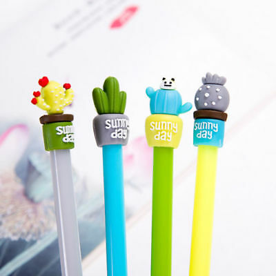 2pcs/set Cute Cactus Design Black Gel Pen Ballpoint Writing Office School Supply