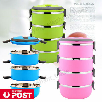 4 Layers Stainless Steel Insulated Lunch Box Thermal Food Storage Containers AU