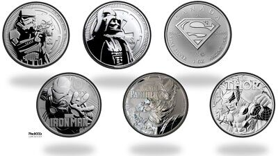 Silver Darth Vader, Thooper, Black Panther, Thor, Iron Man, Superman BU Coin Lot