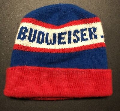 Vintage Budweiser Beanie Hat Knit 70 s 80 s Beer Alcohol Advertisement  Fashion 8a9d9efb40bb