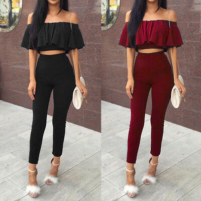 Womens 2 Piece Crop Top Playsuit Jumpsuit Party Clubwear Night Out Set Size 6-12