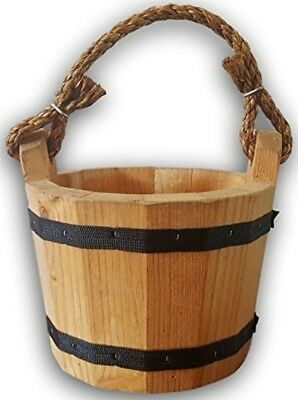 Wooden Bucket Water Pail Handmade Vintage Style Planter Wishing Well Solid Brown